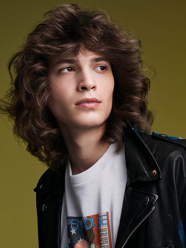 Model George with curls