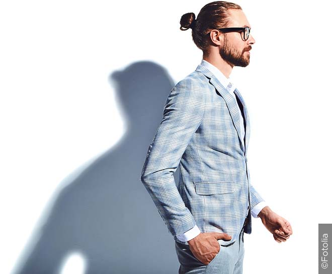 Office-appropriate man bun look.
